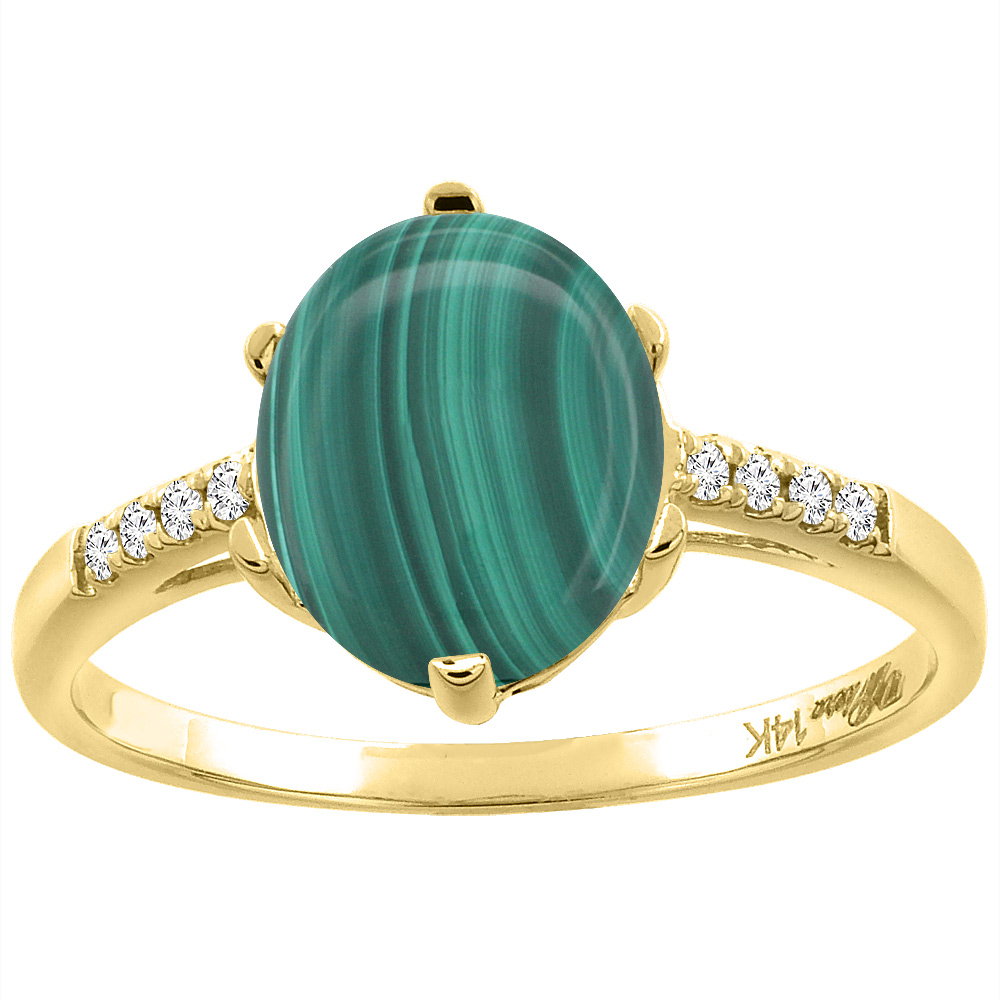 14K Yellow Gold Natural Malachite & Diamond Ring Oval 10x8 mm, sizes 5-10
