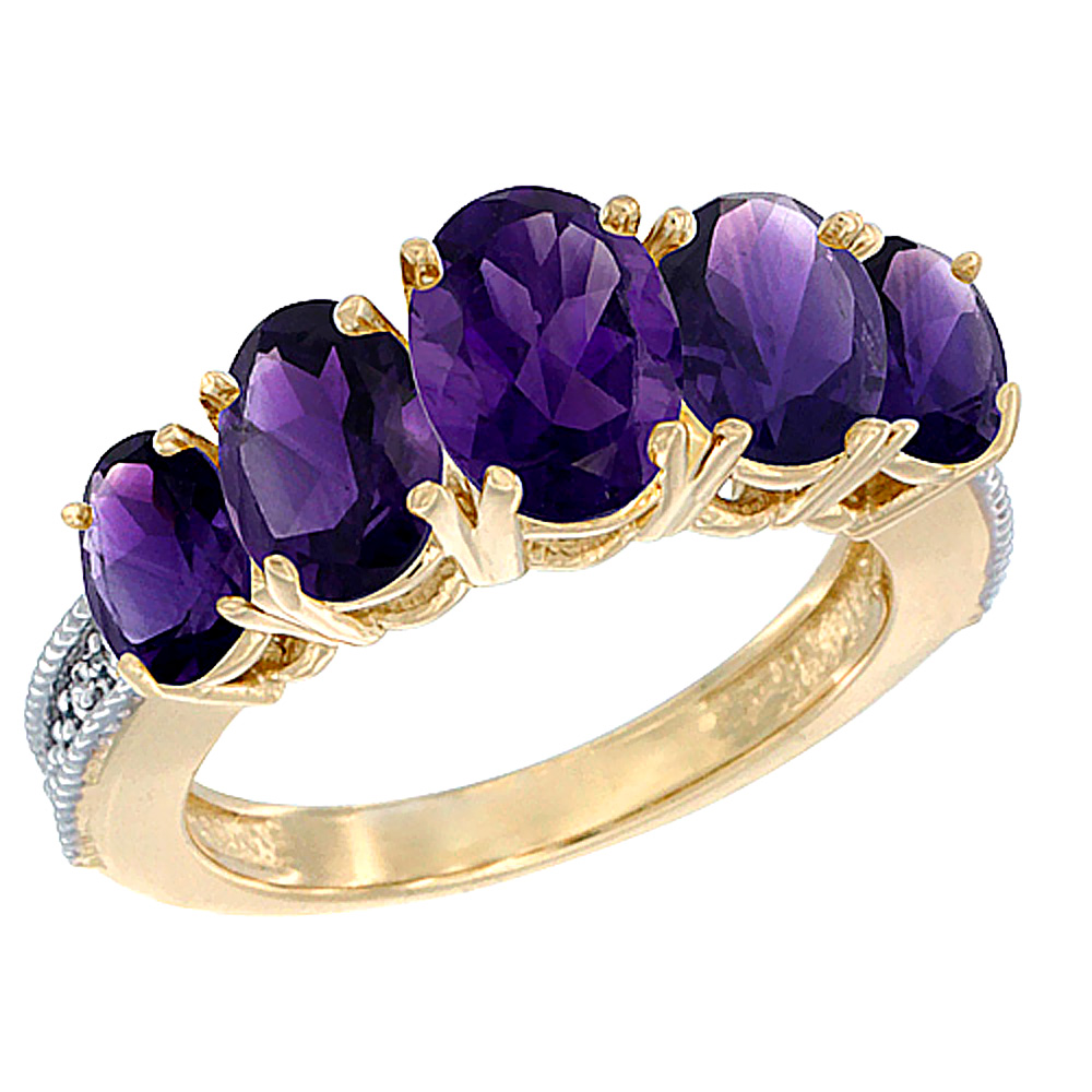 14K Yellow Gold Diamond Natural Amethyst Ring 5-stone Oval 8x6 Ctr,7x5,6x4 sides, sizes 5 - 10