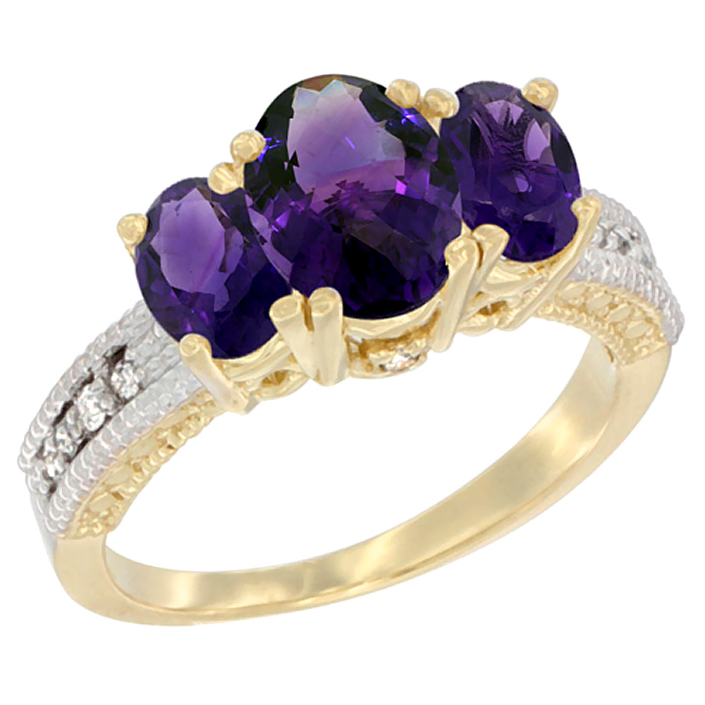 14K Yellow Gold Diamond Natural Amethyst Ring Oval 3-stone, sizes 5 - 10