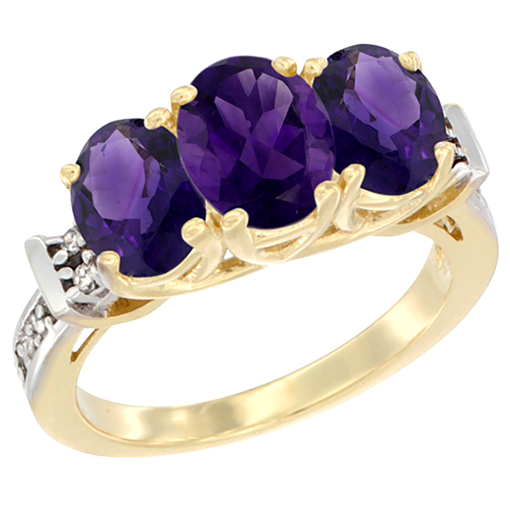 14K Yellow Gold Natural Amethyst Ring 3-Stone Oval Diamond Accent, sizes 5 - 10