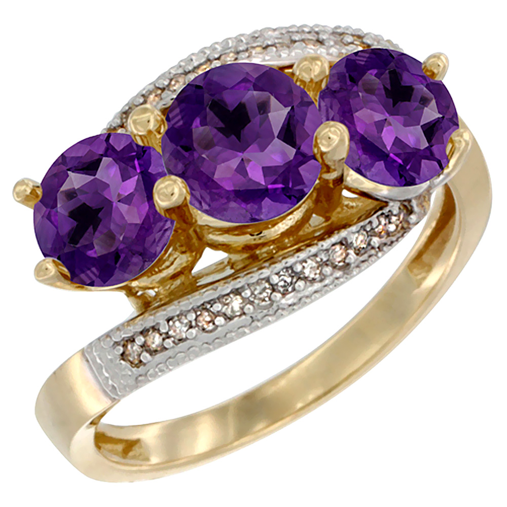 14K Yellow Gold Natural Amethyst 3 stone Ring Round 6mm Diamond Accent, sizes 5 - 10