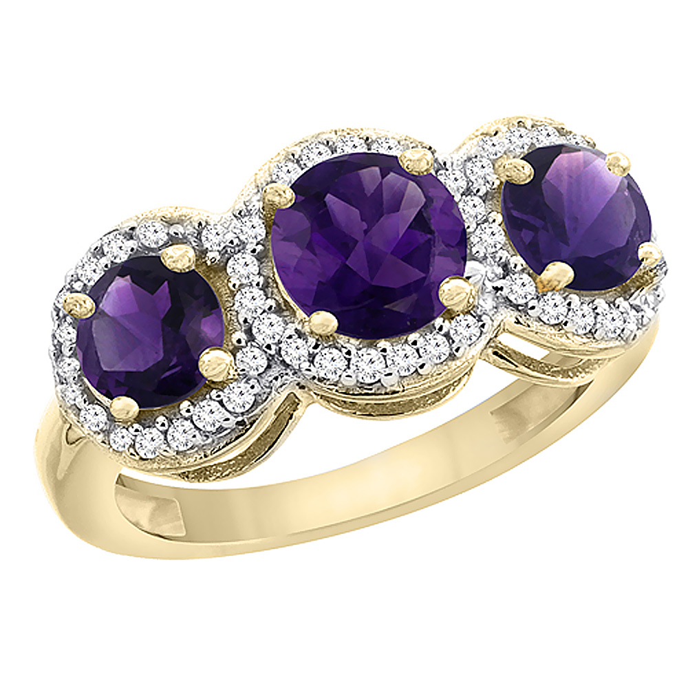 14K Yellow Gold Natural Amethyst Round 3-stone Ring Diamond Accents, sizes 5 - 10