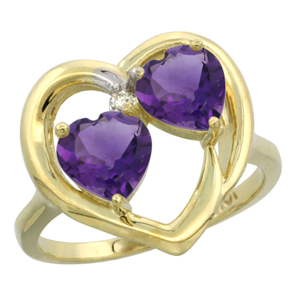 14K Yellow Gold Diamond Two-stone Heart Ring 6 mm Natural Amethyst, sizes 5-10