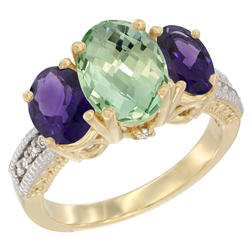 14K Yellow Gold Diamond Natural Green Amethyst Ring 3-Stone Oval 8x6mm with Amethyst, sizes5-10