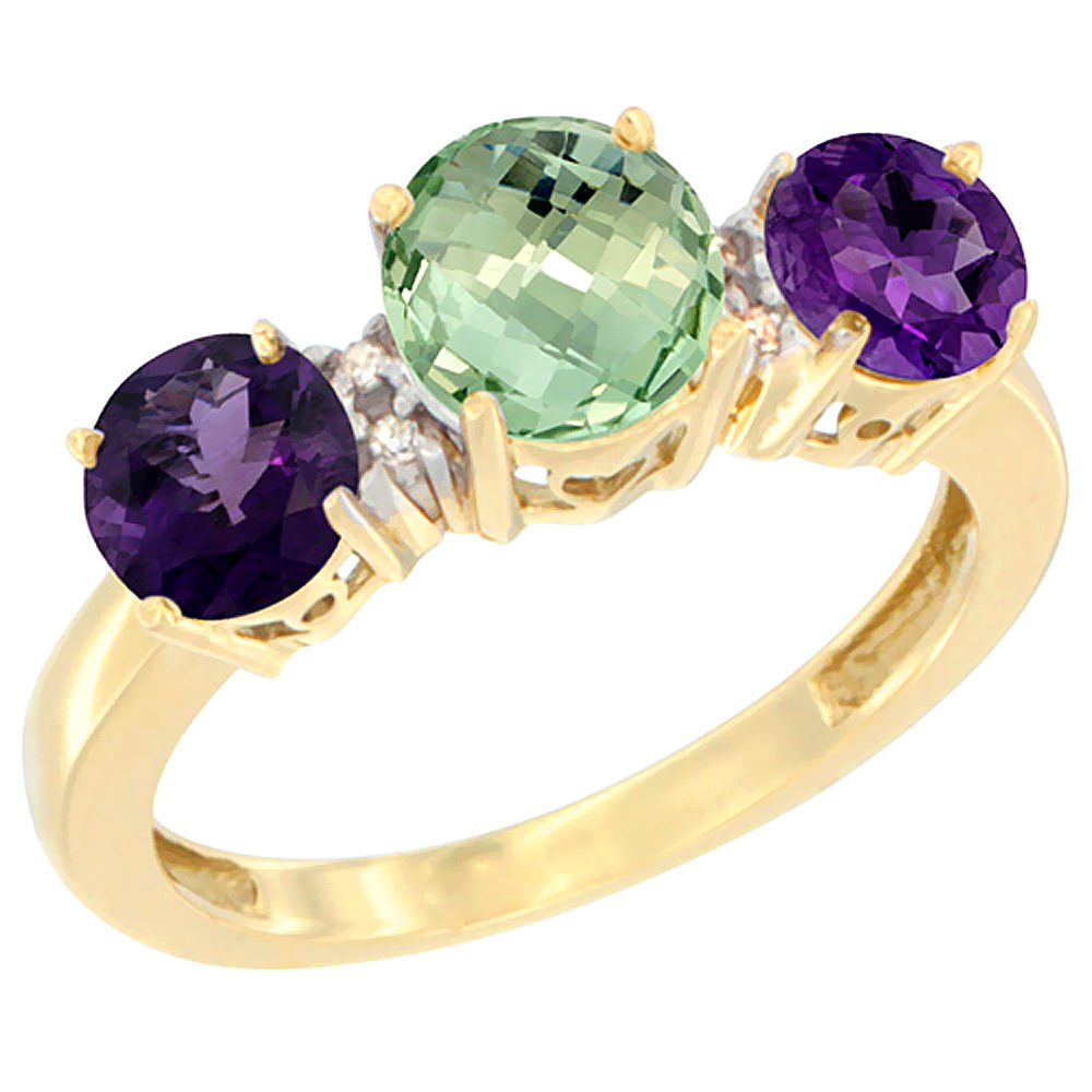 14K Yellow Gold Round 3-Stone Natural Green Amethyst Ring & Amethyst Sides Diamond Accent, sizes 5 - 10