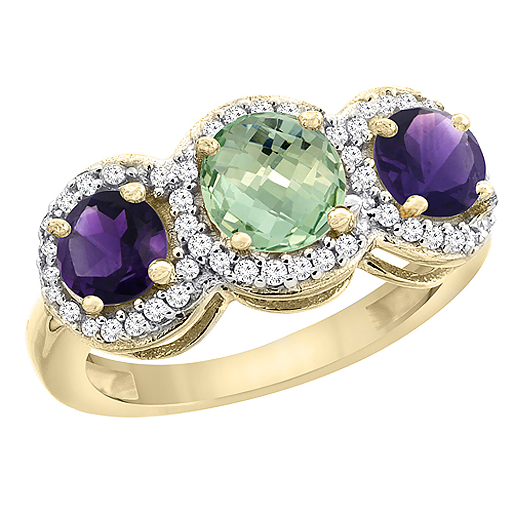 14K Yellow Gold Natural Green Amethyst & Amethyst Sides Round 3-stone Ring Diamond Accents, sizes 5 - 10