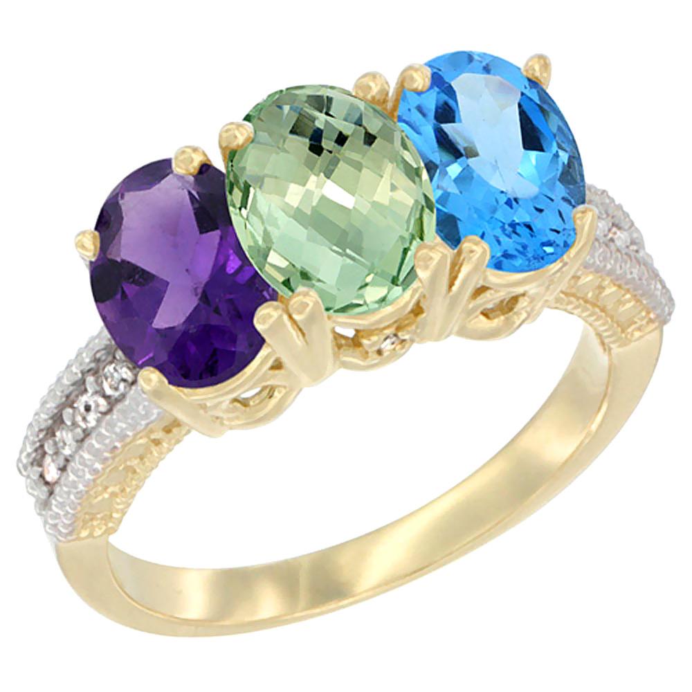 10K Yellow Gold Diamond Natural Purple & Green Amethysts & Swiss Blue Topaz Ring Oval 3-Stone 7x5 mm,sizes 5-10
