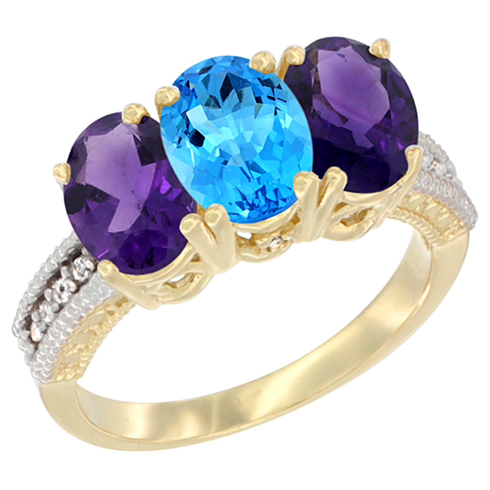 14K Yellow Gold Natural Swiss Blue Topaz & Amethyst Ring 3-Stone 7x5 mm Oval Diamond Accent, sizes 5 - 10