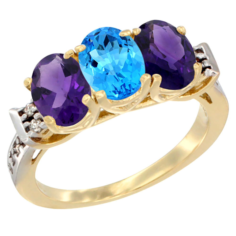 14K Yellow Gold Natural Swiss Blue Topaz & Amethyst Sides Ring 3-Stone 7x5 mm Oval Diamond Accent, sizes 5 - 10