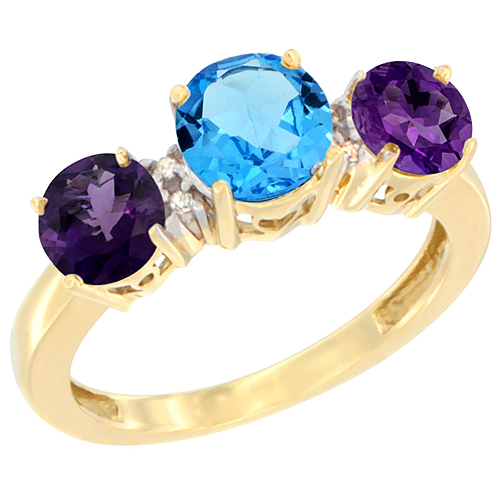 10K Yellow Gold Round 3-Stone Natural Swiss Blue Topaz Ring & Amethyst Sides Diamond Accent, sizes 5 - 10