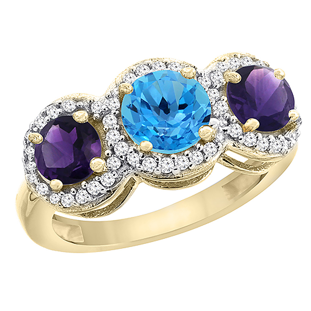 10K Yellow Gold Natural Swiss Blue Topaz & Amethyst Sides Round 3-stone Ring Diamond Accents, sizes 5 - 10