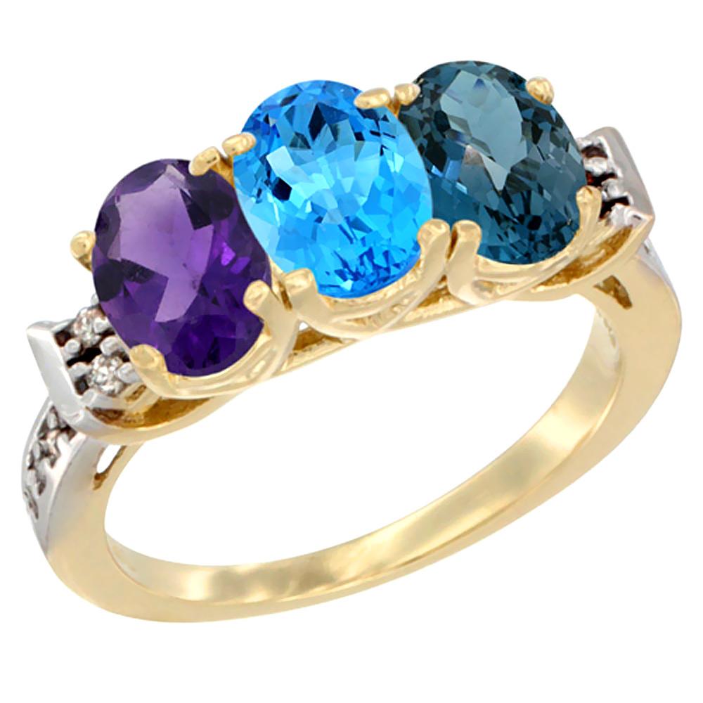 14K Yellow Gold Natural Amethyst, Swiss Blue Topaz & London Blue Topaz Ring 3-Stone 7x5 mm Oval Diamond Accent, sizes 5 - 10