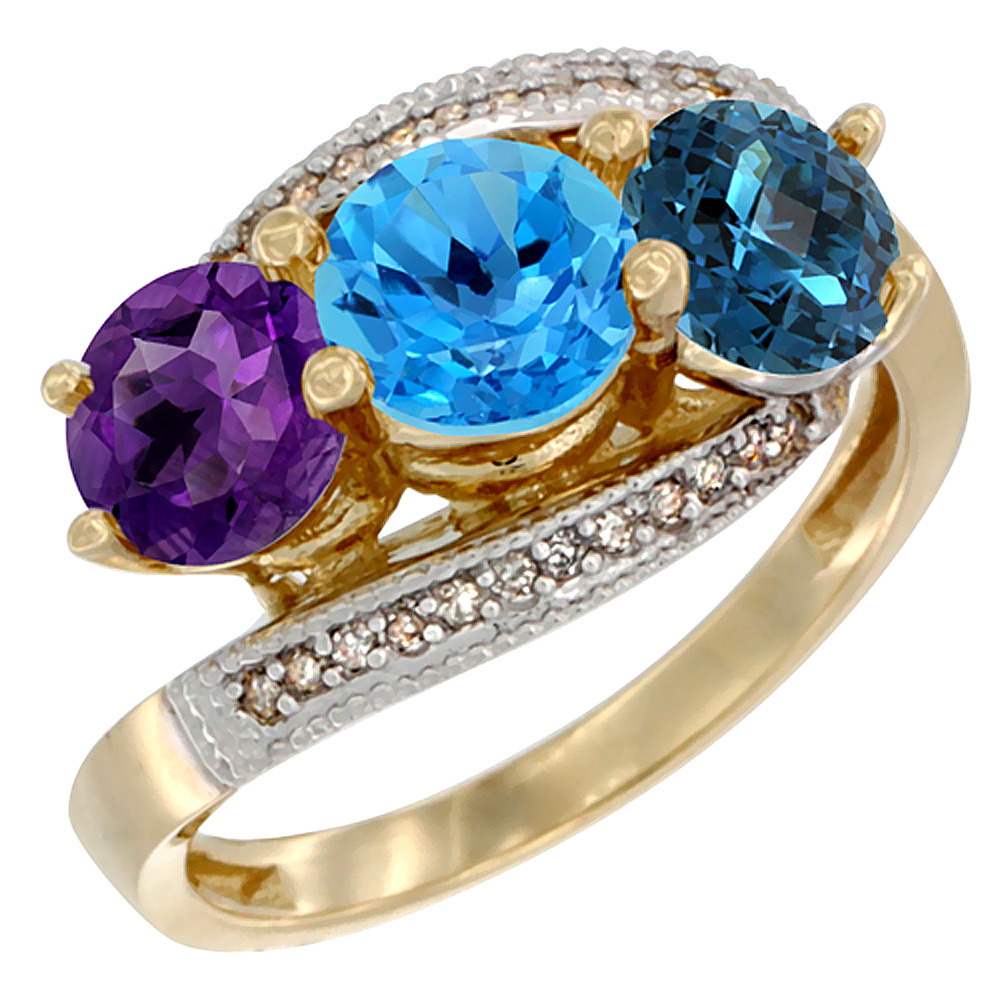 10K Yellow Gold Natural Amethyst, Swiss & London Blue Topaz 3 stone Ring Round 6mm Diamond Accent, sizes 5 - 10