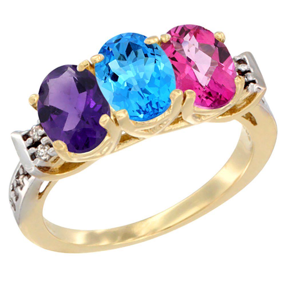 14K Yellow Gold Natural Amethyst, Swiss Blue Topaz & Pink Topaz Ring 3-Stone 7x5 mm Oval Diamond Accent, sizes 5 - 10