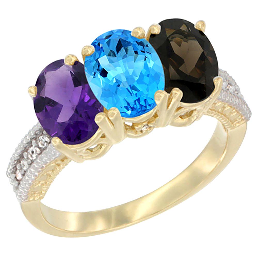 14K Yellow Gold Natural Amethyst, Swiss Blue Topaz & Smoky Topaz Ring 3-Stone 7x5 mm Oval Diamond Accent, sizes 5 - 10