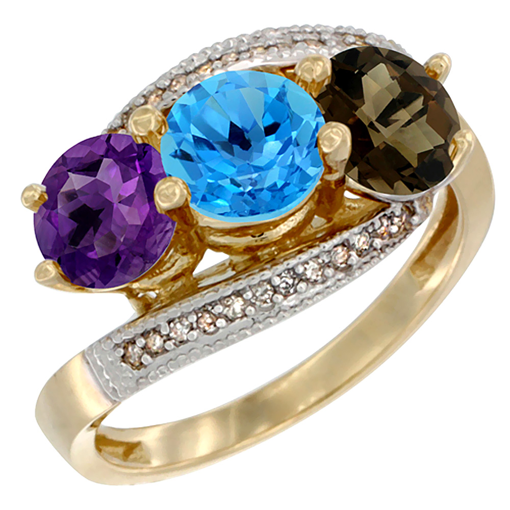 10K Yellow Gold Natural Amethyst, Swiss Blue & Smoky Topaz 3 stone Ring Round 6mm Diamond Accent, sizes 5 - 10