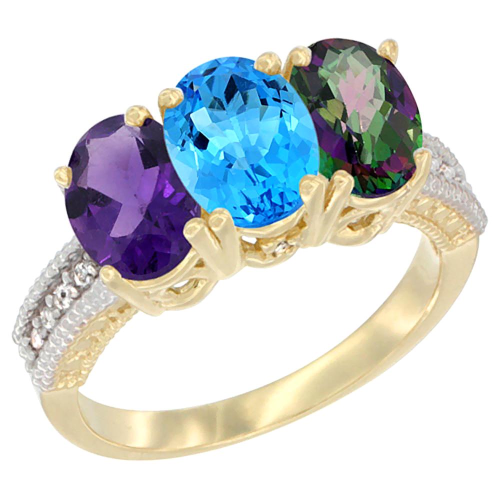 14K Yellow Gold Natural Amethyst, Swiss Blue Topaz & Mystic Topaz Ring 3-Stone 7x5 mm Oval Diamond Accent, sizes 5 - 10