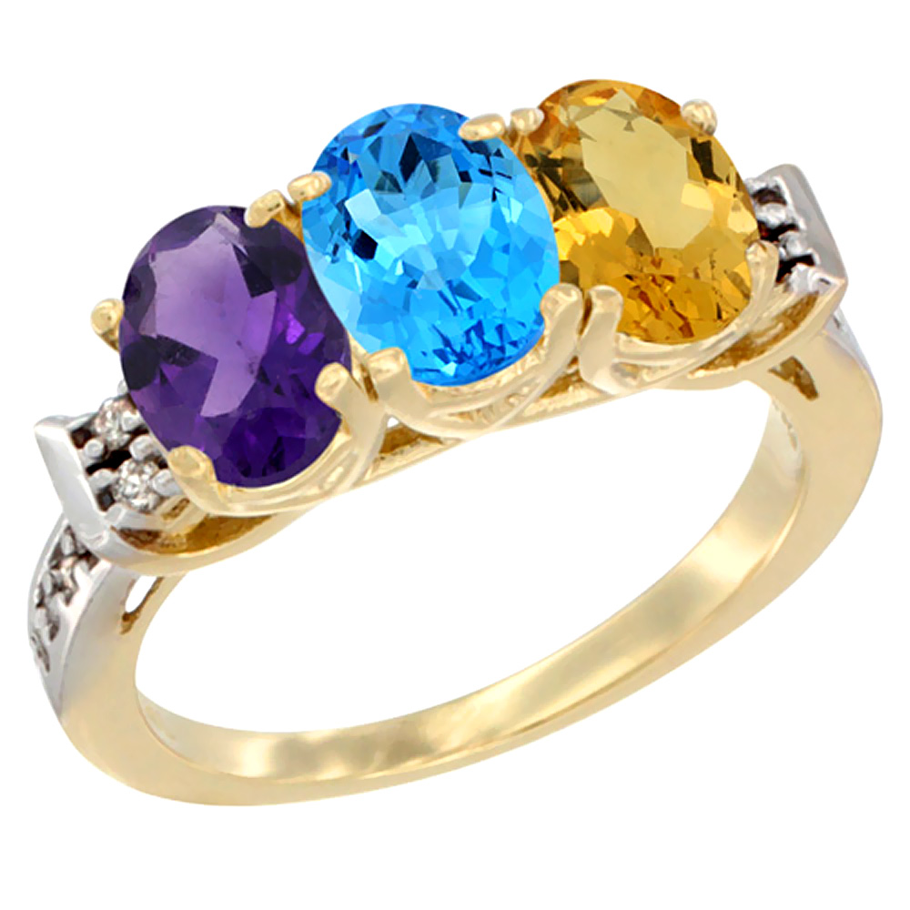 14K Yellow Gold Natural Amethyst, Swiss Blue Topaz & Citrine Ring 3-Stone 7x5 mm Oval Diamond Accent, sizes 5 - 10