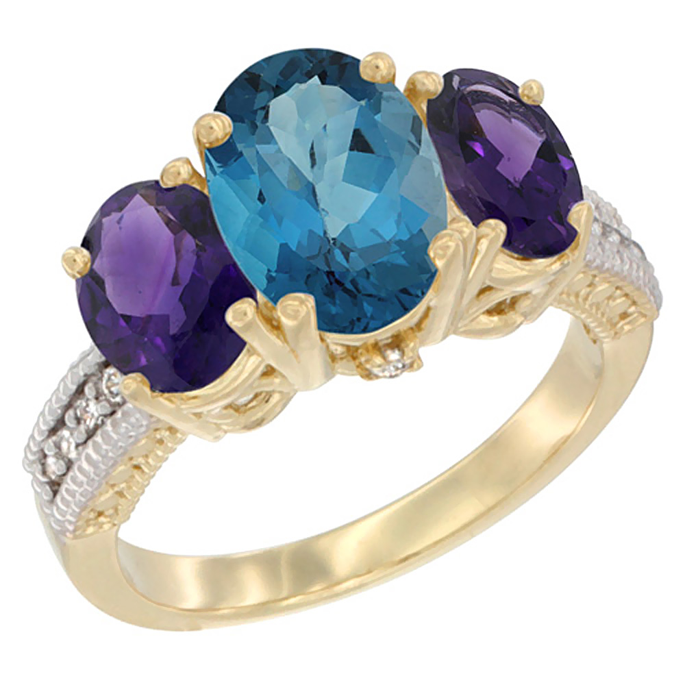14K Yellow Gold Diamond Natural London Blue Topaz Ring 3-Stone Oval 8x6mm with Amethyst, sizes5-10