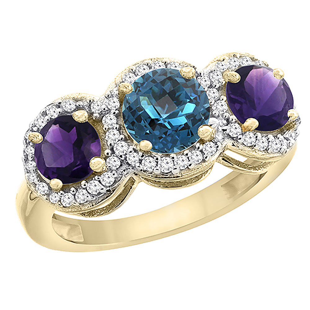 14K Yellow Gold Natural London Blue Topaz & Amethyst Sides Round 3-stone Ring Diamond Accents, sizes 5 - 10