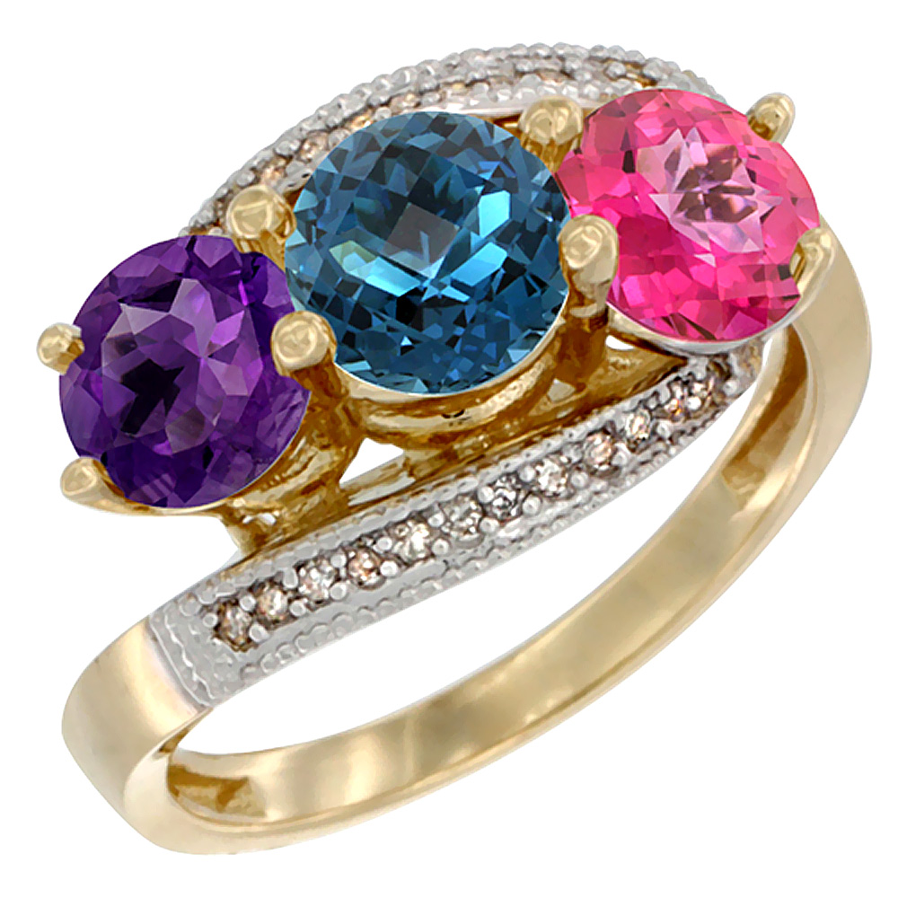 14K Yellow Gold Natural Amethyst, London Blue & Pink Topaz 3 stone Ring Round 6mm Diamond Accent, sizes 5 - 10