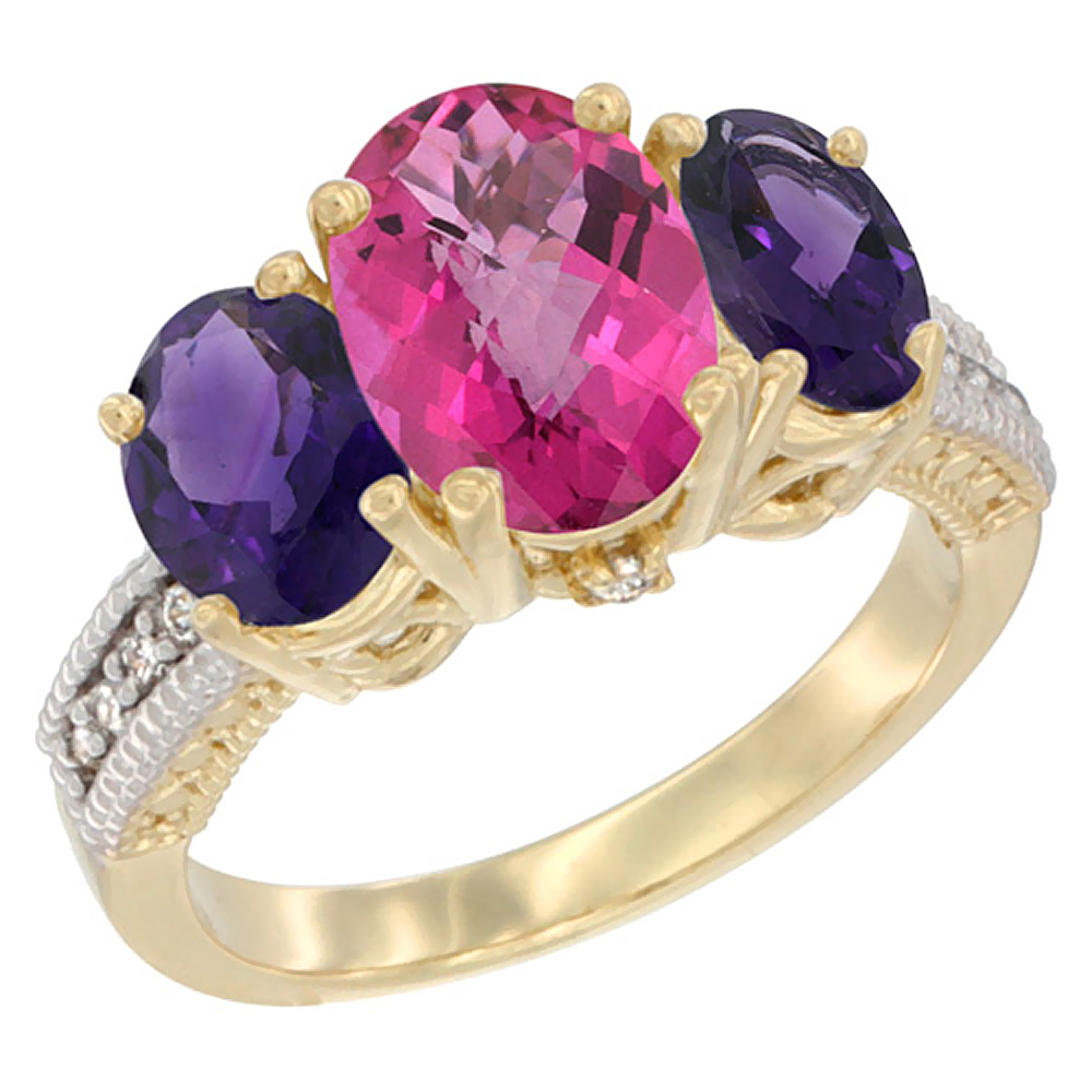 10K Yellow Gold Diamond Natural Pink Topaz Ring 3-Stone Oval 8x6mm with Amethyst, sizes5-10