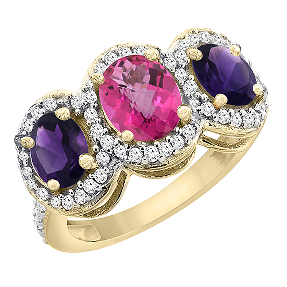 10K Yellow Gold Natural Pink Topaz & Amethyst 3-Stone Ring Oval Diamond Accent, sizes 5 - 10