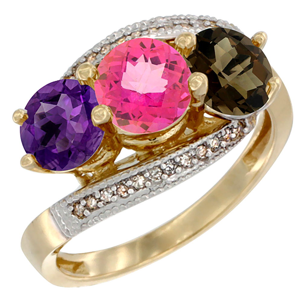 10K Yellow Gold Natural Amethyst, Pink & Smoky Topaz 3 stone Ring Round 6mm Diamond Accent, sizes 5 - 10