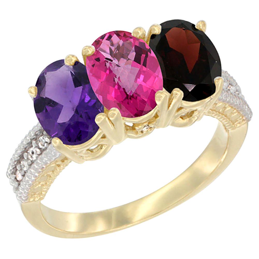 10K Yellow Gold Diamond Natural Amethyst, Pink Topaz & Garnet Ring Oval 3-Stone 7x5 mm,sizes 5-10