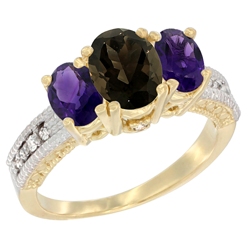 10K Yellow Gold Diamond Natural Smoky Topaz Ring Oval 3-stone with Amethyst, sizes 5 - 10