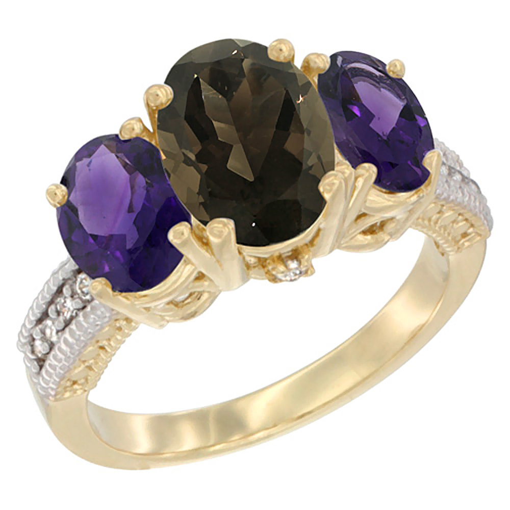 10K Yellow Gold Diamond Natural Smoky Topaz Ring 3-Stone Oval 8x6mm with Amethyst, sizes5-10