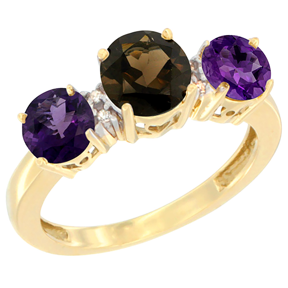 10K Yellow Gold Round 3-Stone Natural Smoky Topaz Ring & Amethyst Sides Diamond Accent, sizes 5 - 10