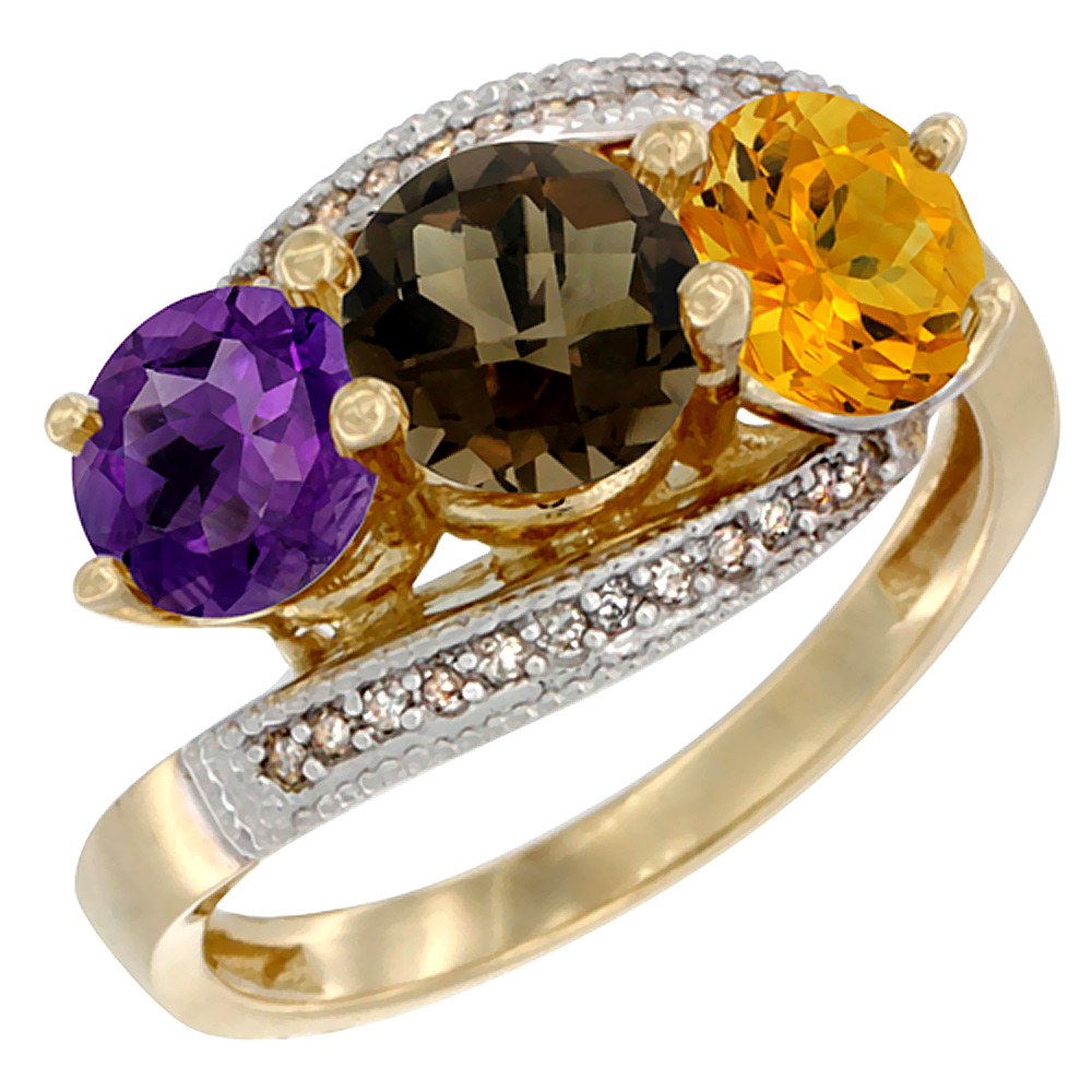 10K Yellow Gold Natural Amethyst, Smoky Topaz & Citrine 3 stone Ring Round 6mm Diamond Accent, sizes 5 - 10