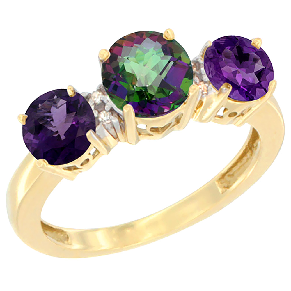 14K Yellow Gold Round 3-Stone Natural Mystic Topaz Ring & Amethyst Sides Diamond Accent, sizes 5 - 10