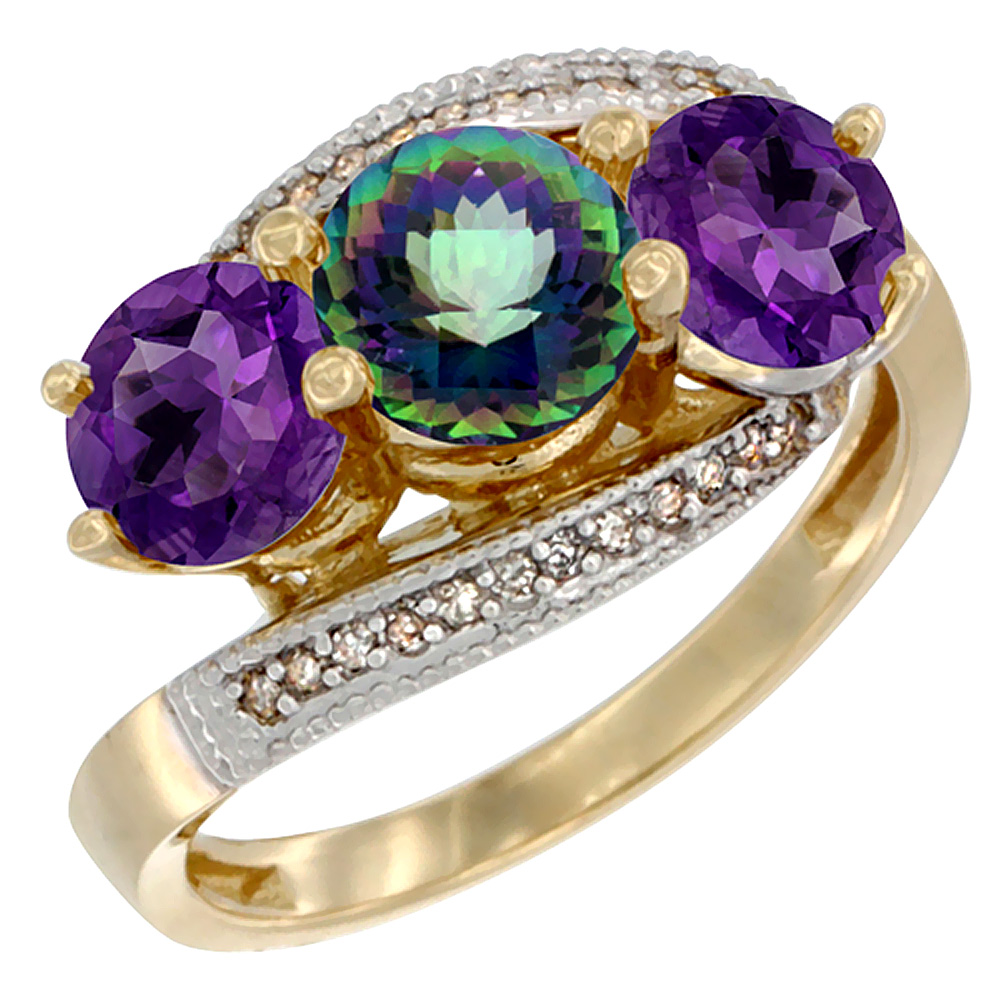 14K Yellow Gold Natural Mystic Topaz & Amethyst Sides 3 stone Ring Round 6mm Diamond Accent, sizes 5 - 10