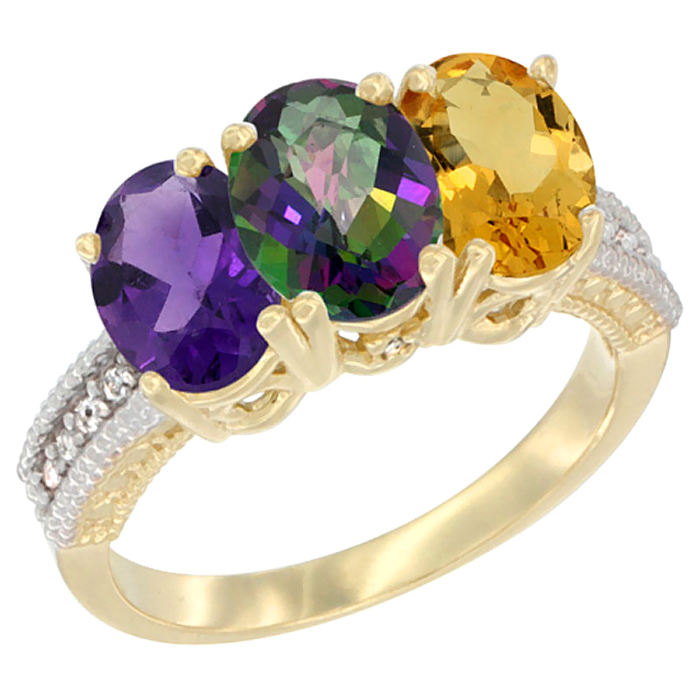 14K Yellow Gold Natural Amethyst, Mystic Topaz & Citrine Ring 3-Stone 7x5 mm Oval Diamond Accent, sizes 5 - 10