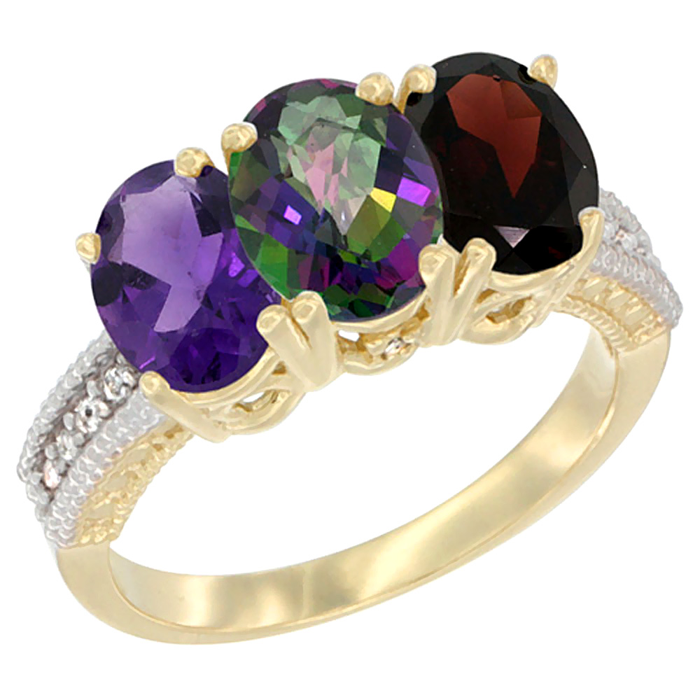 10K Yellow Gold Diamond Natural Amethyst, Mystic Topaz & Garnet Ring Oval 3-Stone 7x5 mm,sizes 5-10