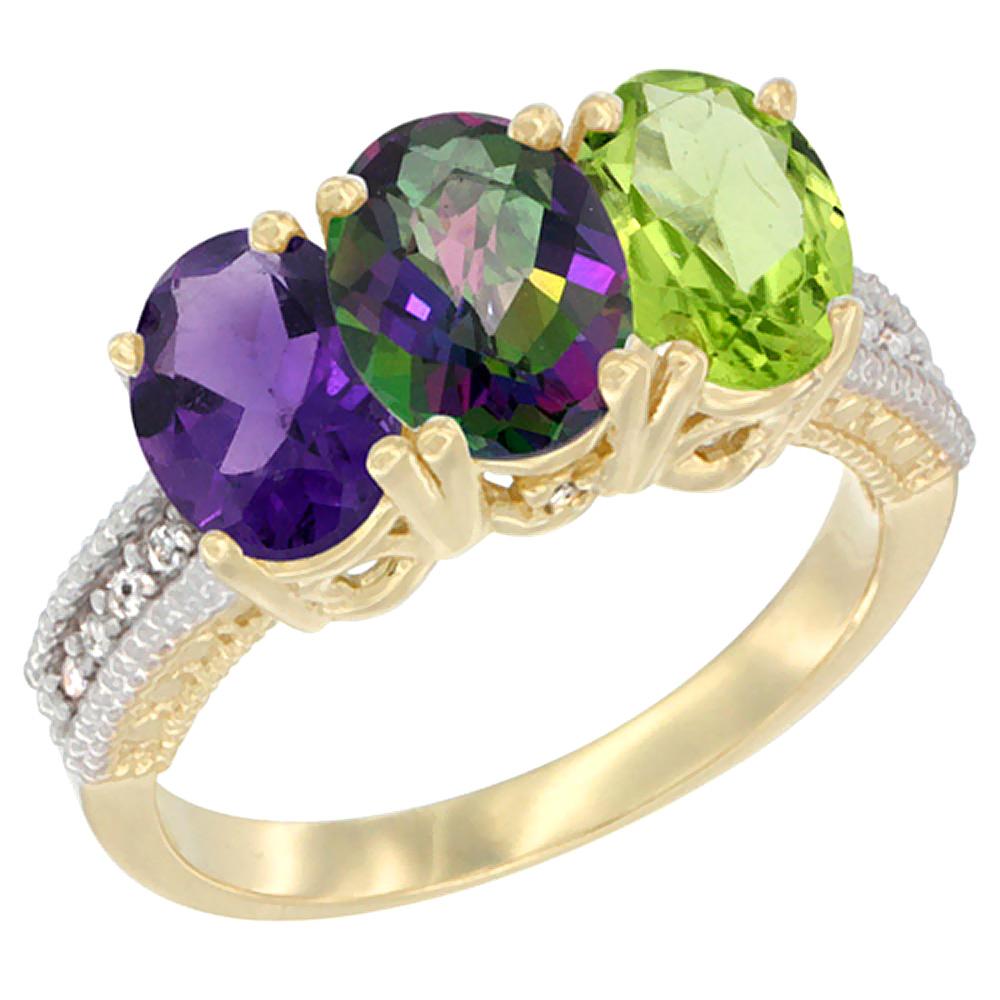 10K Yellow Gold Diamond Natural Amethyst, Mystic Topaz & Peridot Ring Oval 3-Stone 7x5 mm,sizes 5-10