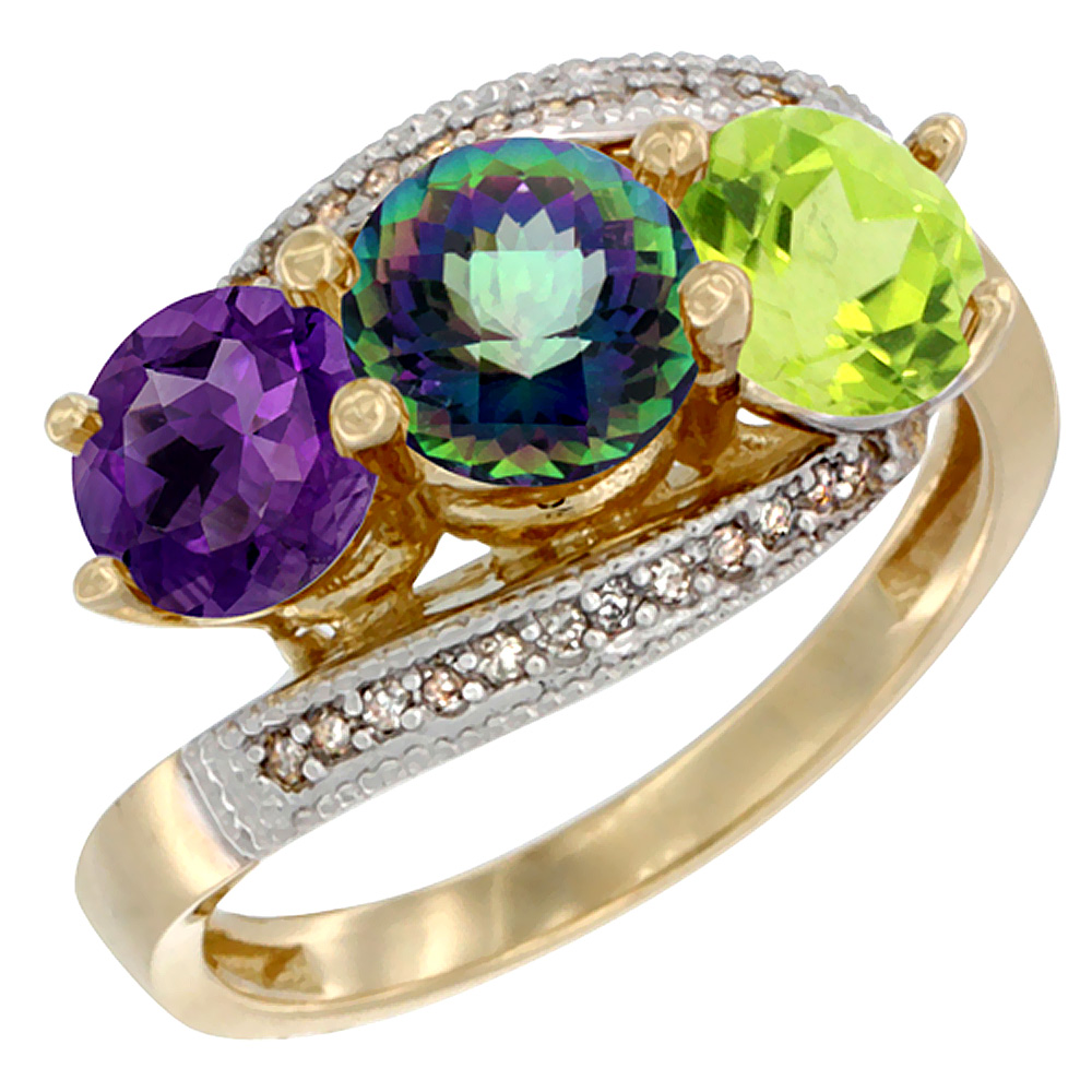14K Yellow Gold Natural Amethyst, Mystic Topaz & Peridot 3 stone Ring Round 6mm Diamond Accent, sizes 5 - 10