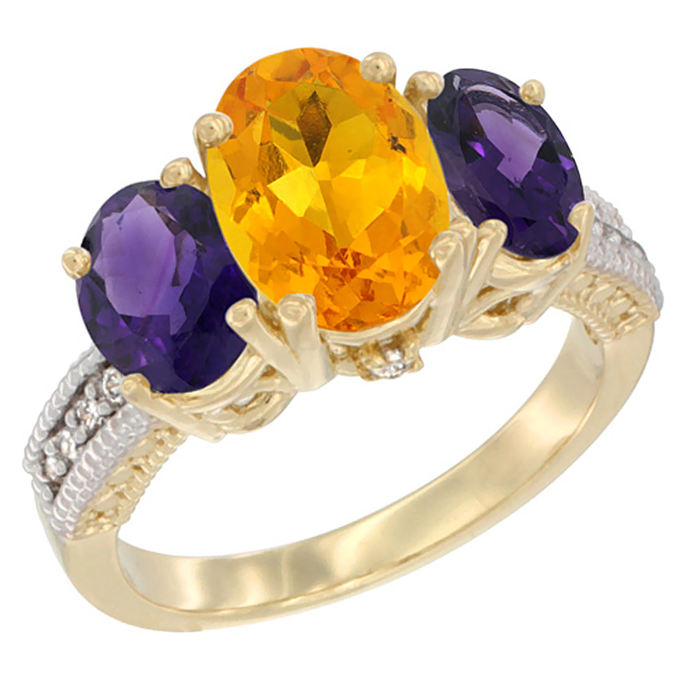 10K Yellow Gold Diamond Natural Citrine Ring 3-Stone Oval 8x6mm with Amethyst, sizes5-10