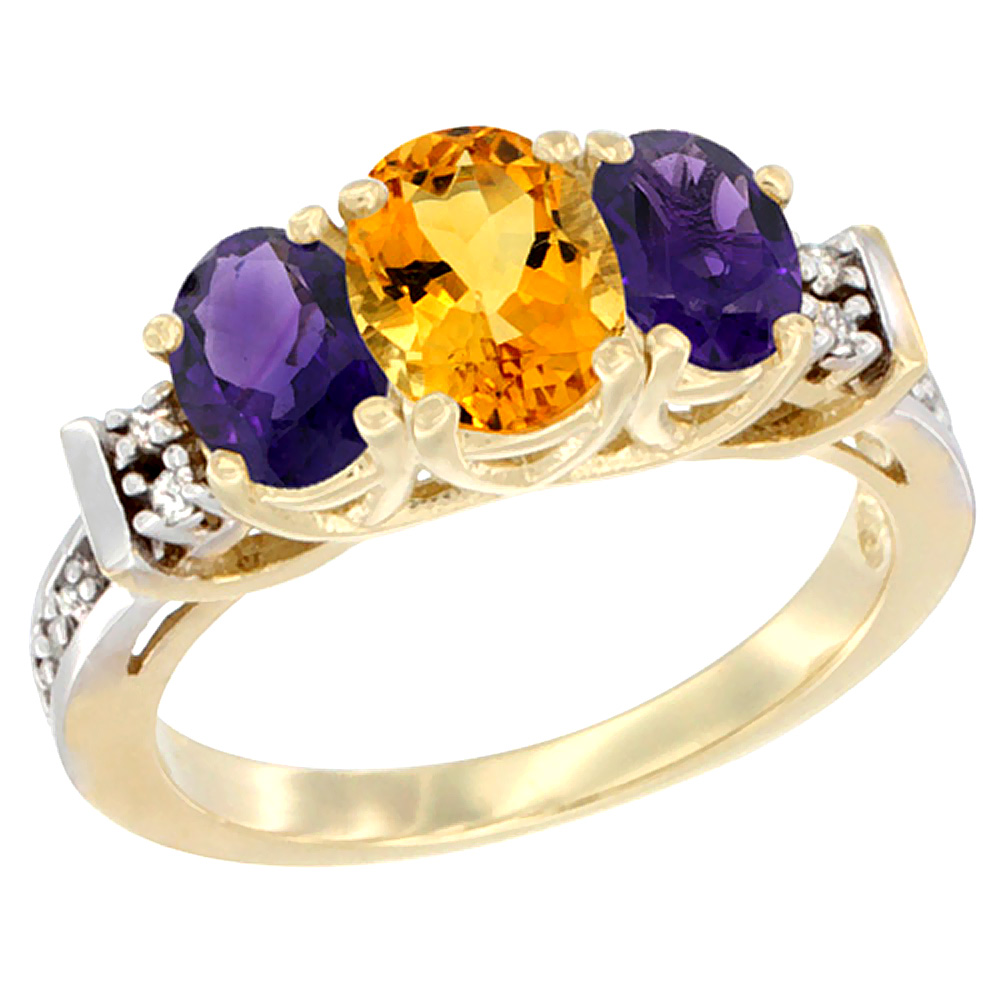 14K Yellow Gold Natural Citrine & Amethyst Ring 3-Stone Oval Diamond Accent