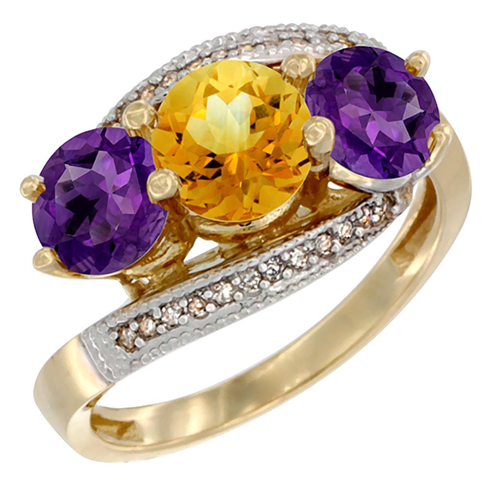 10K Yellow Gold Natural Citrine & Amethyst Sides 3 stone Ring Round 6mm Diamond Accent, sizes 5 - 10