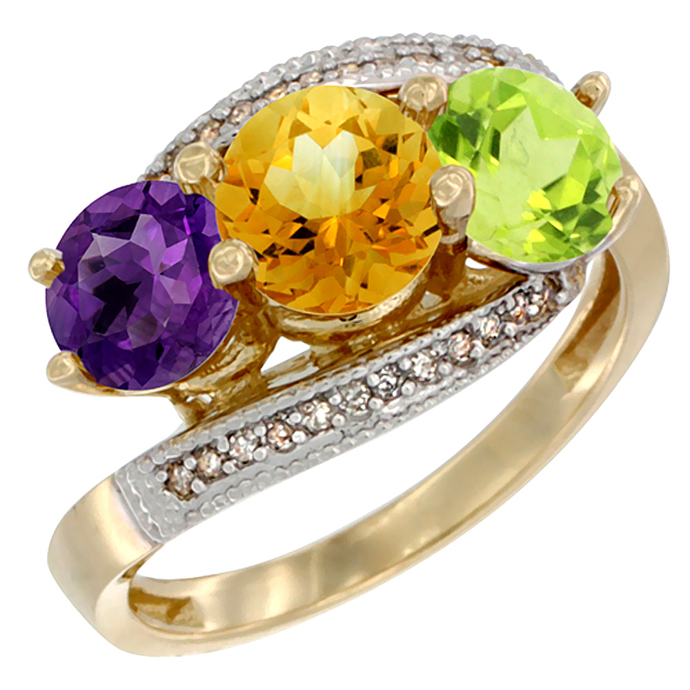 10K Yellow Gold Natural Amethyst, Citrine & Peridot 3 stone Ring Round 6mm Diamond Accent, sizes 5 - 10