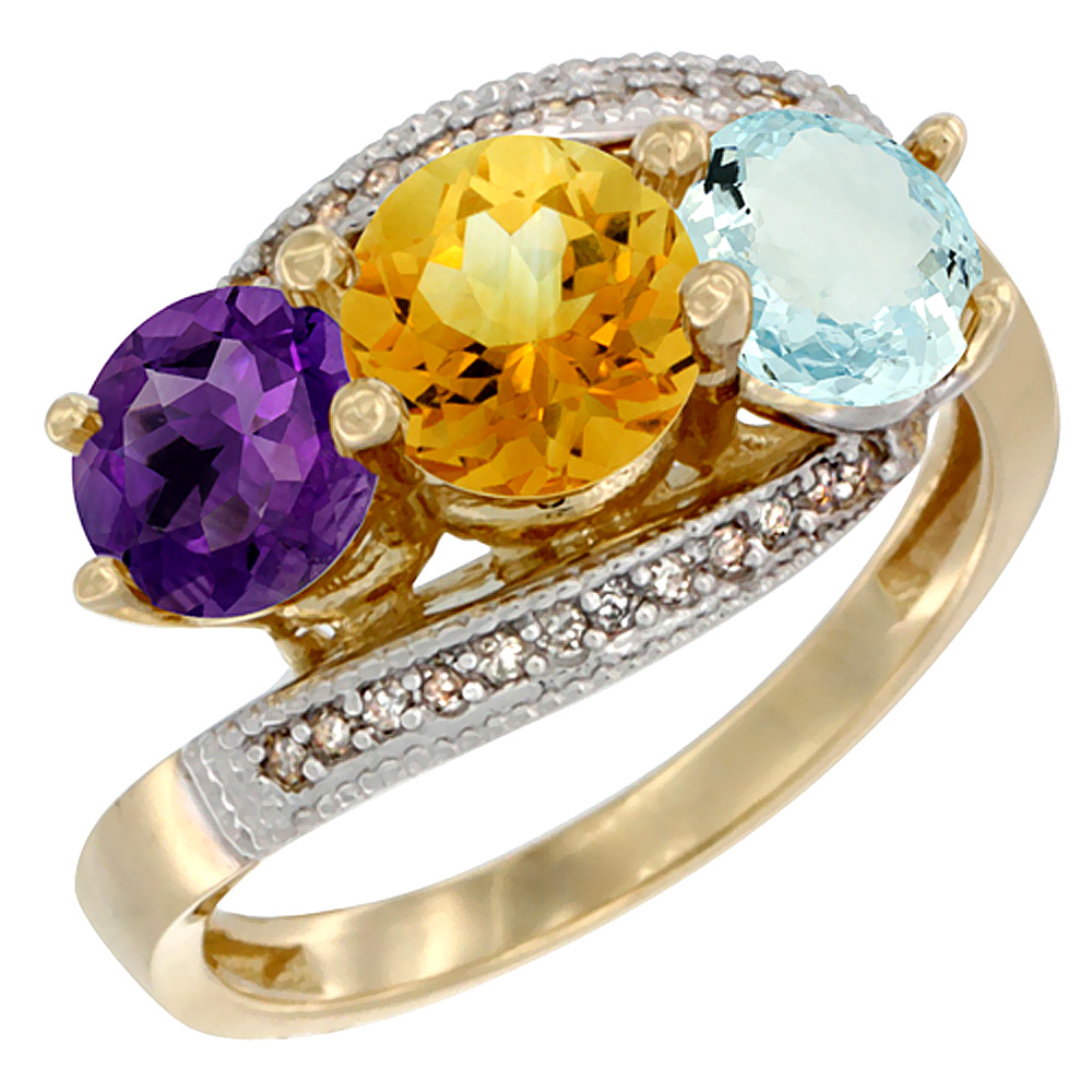 14K Yellow Gold Natural Amethyst, Citrine & Aquamarine 3 stone Ring Round 6mm Diamond Accent, sizes 5 - 10