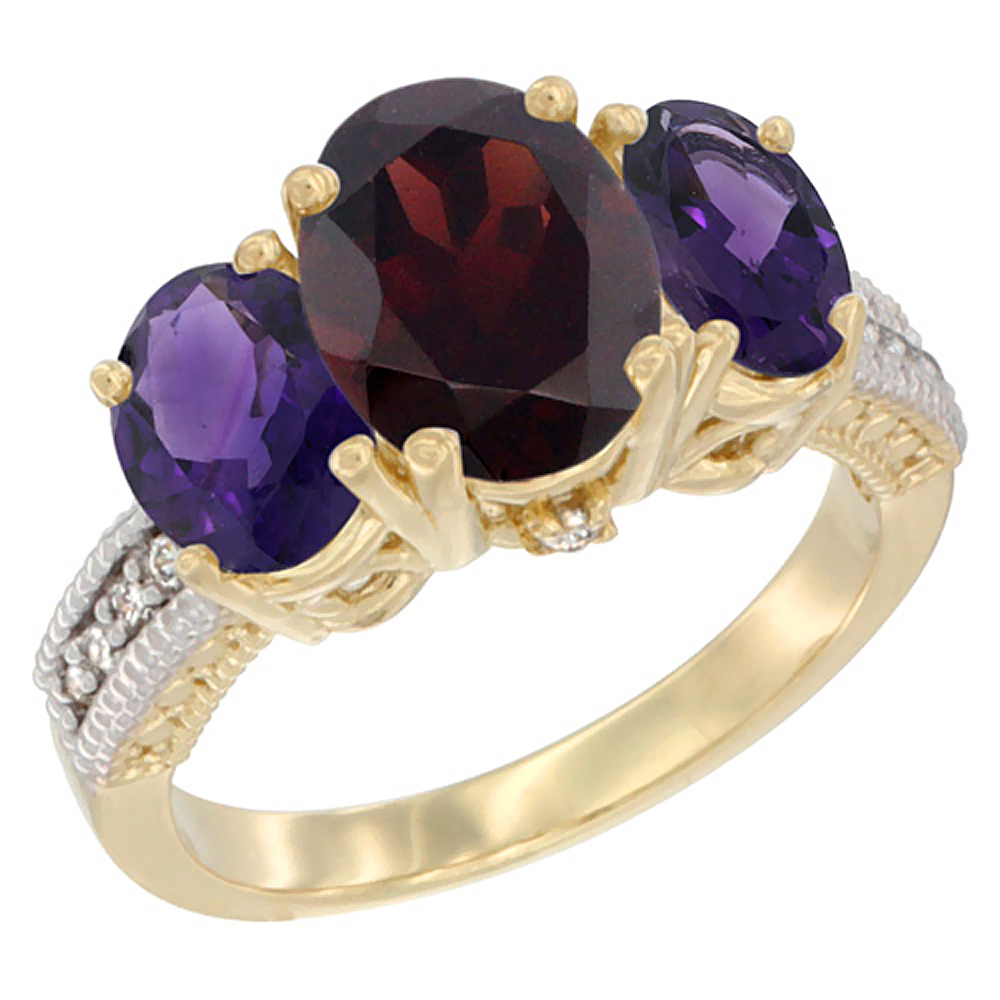 14K Yellow Gold Diamond Natural Garnet Ring 3-Stone Oval 8x6mm with Amethyst, sizes5-10