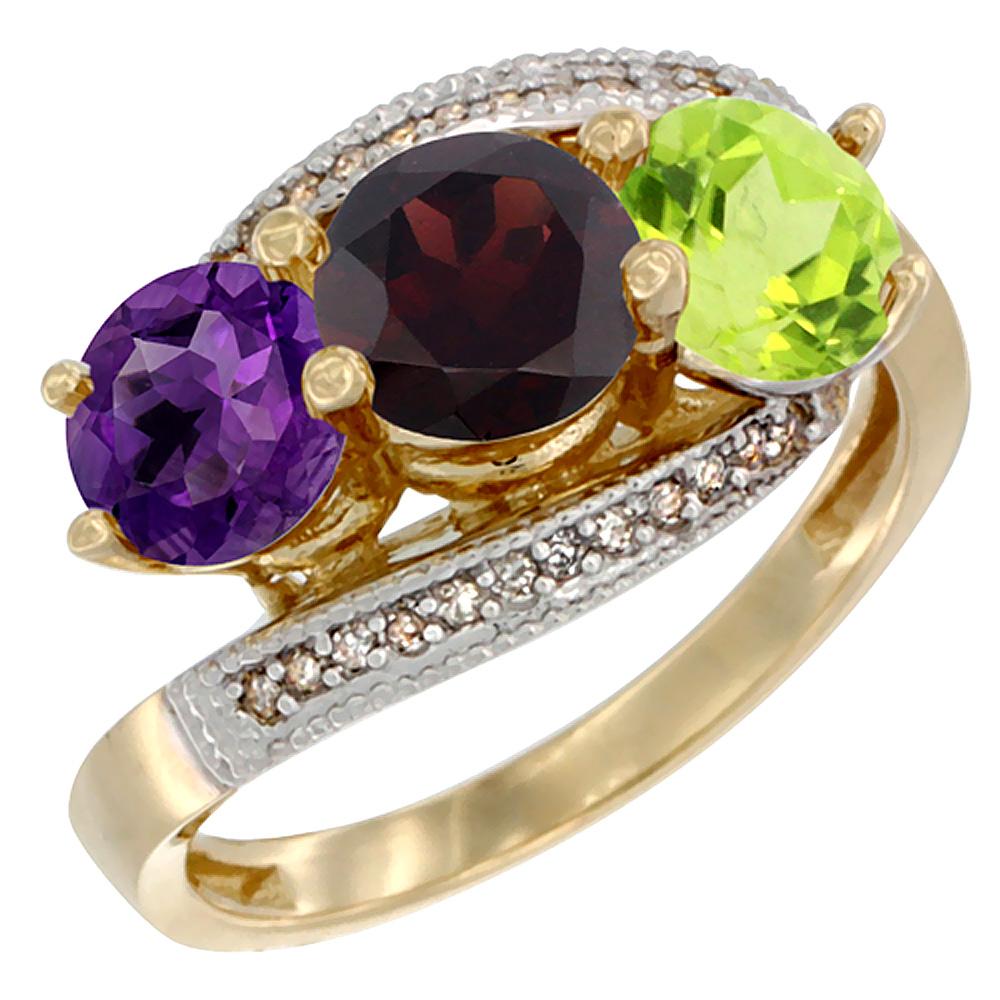 10K Yellow Gold Natural Amethyst, Garnet & Peridot 3 stone Ring Round 6mm Diamond Accent, sizes 5 - 10