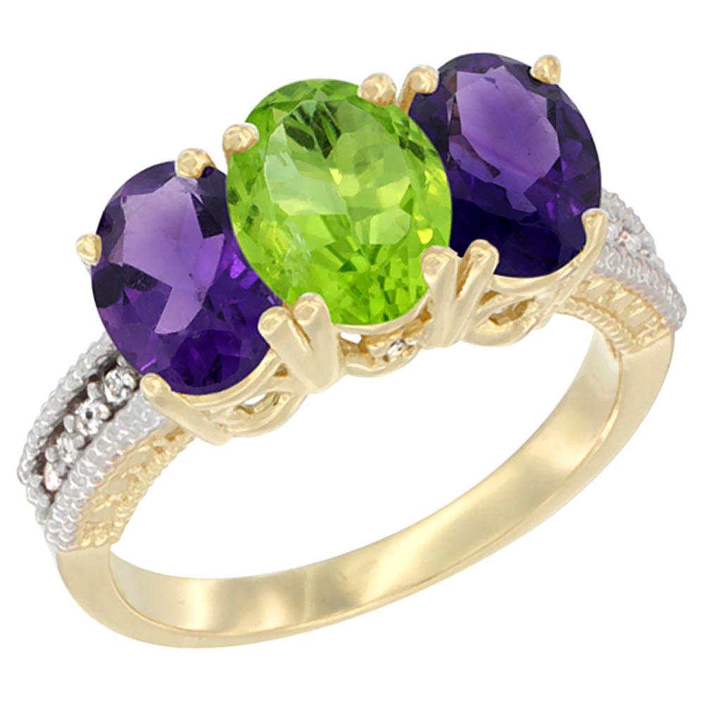 10K Yellow Gold Diamond Natural Peridot & Amethyst Ring Oval 3-Stone 7x5 mm,sizes 5-10