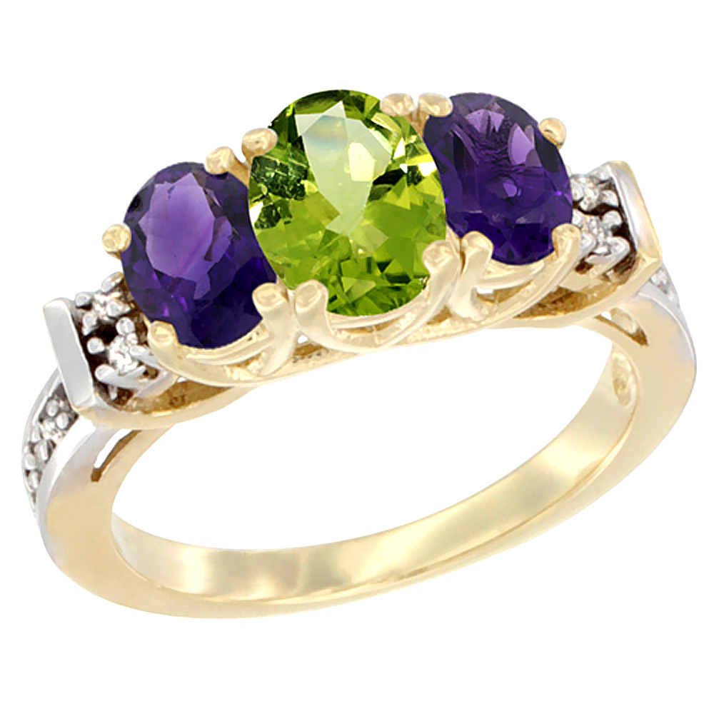 10K Yellow Gold Natural Peridot & Amethyst Ring 3-Stone Oval Diamond Accent