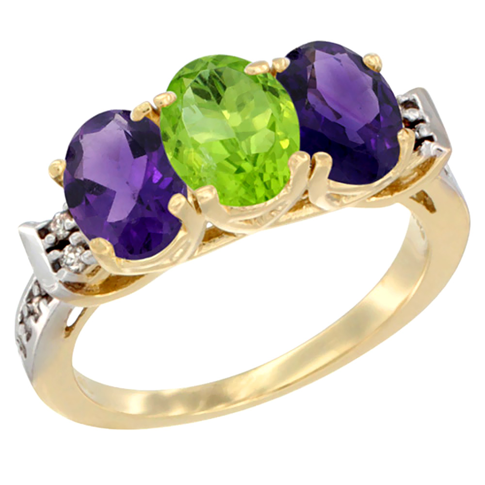 10K Yellow Gold Natural Peridot & Amethyst Sides Ring 3-Stone Oval 7x5 mm Diamond Accent, sizes 5 - 10