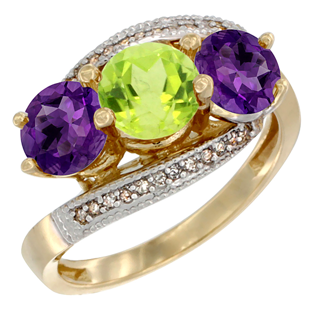 10K Yellow Gold Natural Peridot & Amethyst Sides 3 stone Ring Round 6mm Diamond Accent, sizes 5 - 10